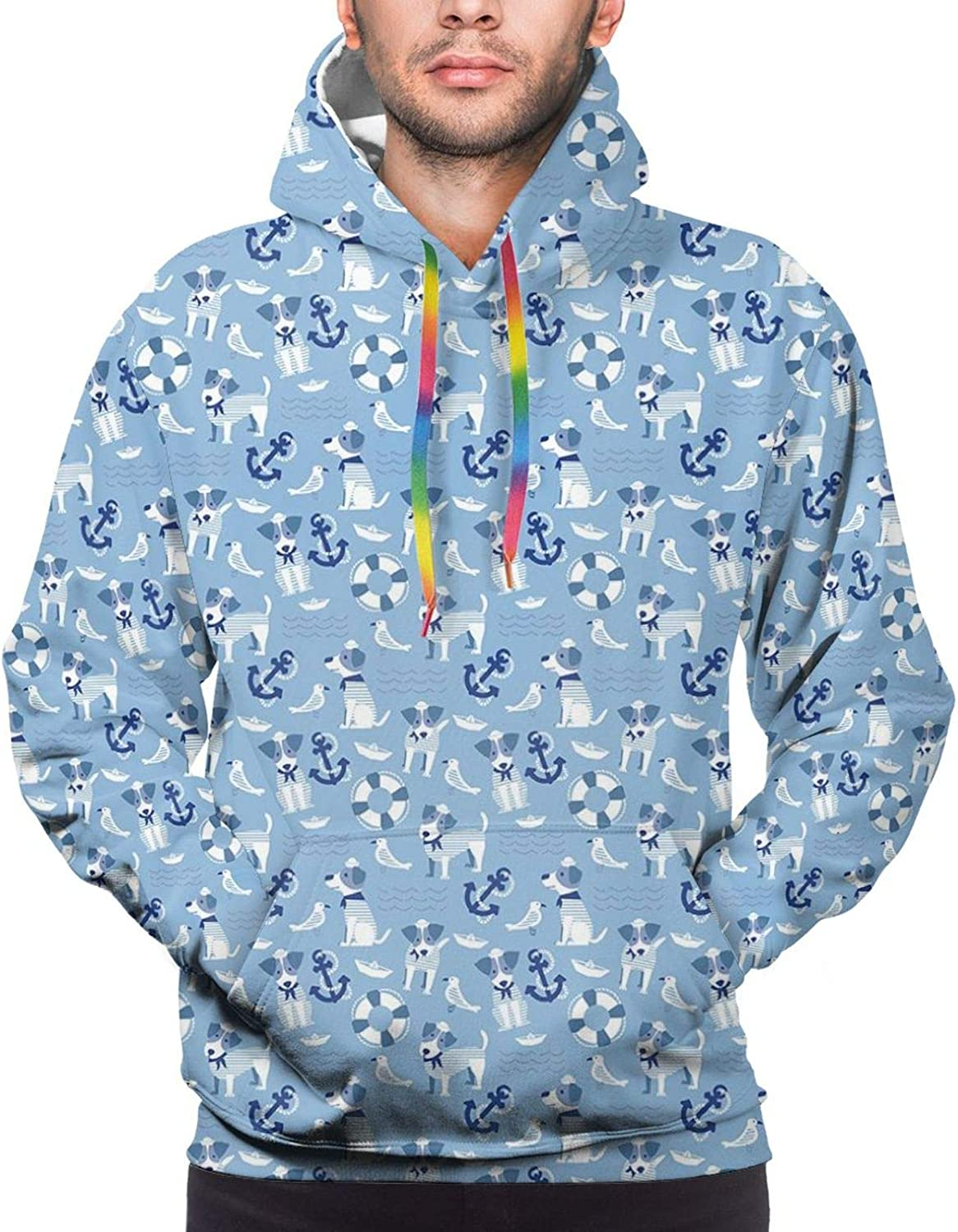 Men's Hoodies Sweatshirts,Sailor Terrier Cute Dog Figure with Maritime Objects Sea Pets and Birds