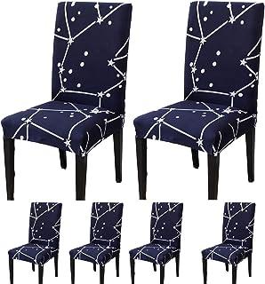 TEERFU 6 fundas elásticas para sillas de comedor, fundas de asiento de silla extraíbles y lavables, fundas de asiento para banquetes de hotel y ceremonia de boda