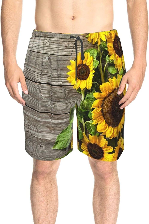 JINJUELS Men's Swim Trunks Wooden Sunflower Board Beach Board Shorts Quick Dry Cool Summer Boardshorts with Pockets