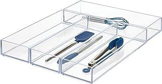 iDesign Clarity Lot de 4 tiroirs de cuisine et salle de bain pour argenterie, spatules, gadgets, grande taille