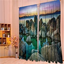 ZHICASSIESOPHIER Finel Kids Curtains for Living Room Bedroom Window Curtains Baby Room Lovely Children Curtains Drapes,Rocks in River at Evening Time When Lights Down 84Wx84L Inch