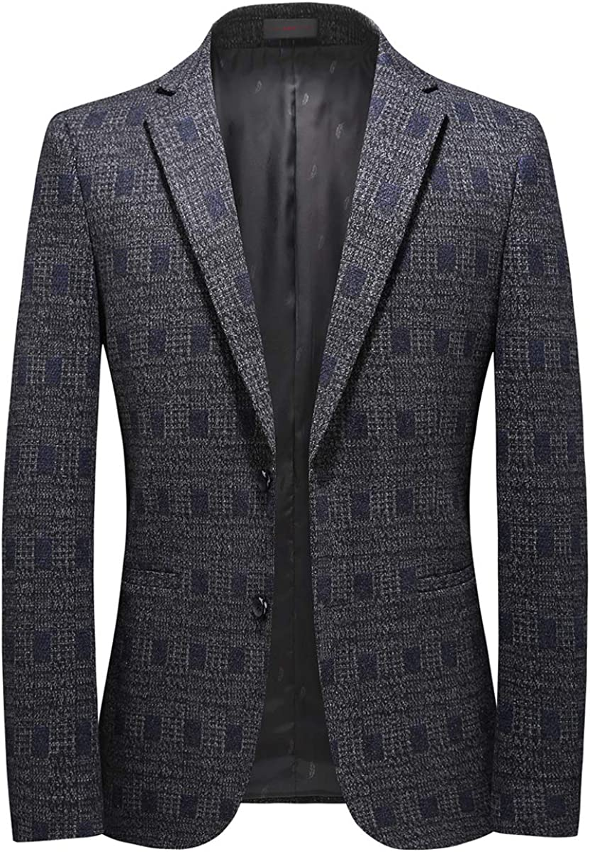 Mens Plaid Suit Blazer Casual Slim Fit Dinner Dress Jacket Sport Coat Tops