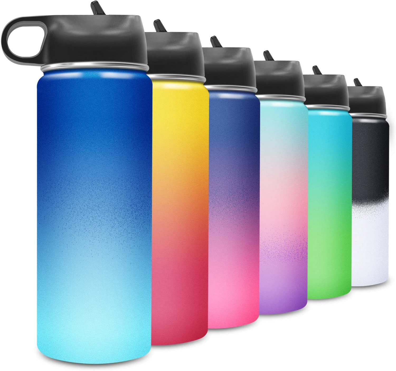 BICASLOVE Botella de Agua Acero Inoxidable 18oz/532ml,Aislamiento de Vacío de Doble Pared,Reutilizable,para Adultos,Niños,Hogar,Café,Correr,Gimnasio,Yoga