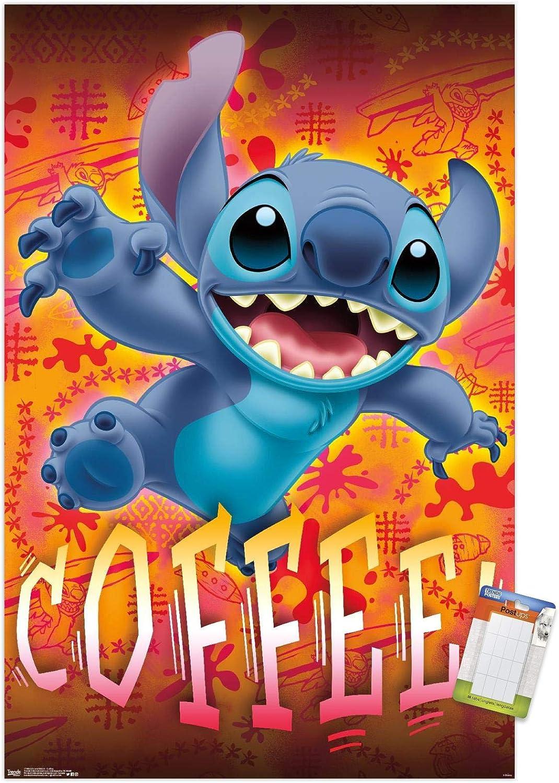 Amazon Com Trends International Disney Lilo And Stitch Coffee Wall Poster 14 725 X 22 375 Premium Poster Mount Bundle Posters Prints