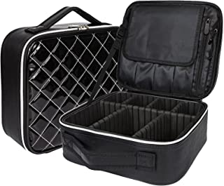Eazosyku Makeup Bag Organizer, Portable Travel Makeup Train Case, PU Leather, Multi-purpose Professional Cosmetic bag with Adjustable Dividers and Strap, Storage handbag tote for unisex, Black-S