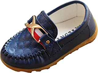 Gaorui Boys' Moccasin Loafer Soft Leather Casual Oxford Boat Walking Slip-On Peas Shoes