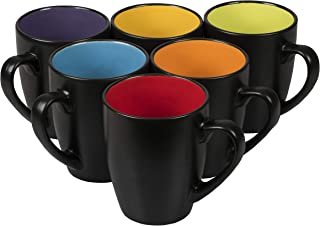 Klikel Black Coffee Mugs 14oz Set of 6 - Flat Bottom Stoneware Fits Coffee Makers - Black Cup With Multi Color Inside