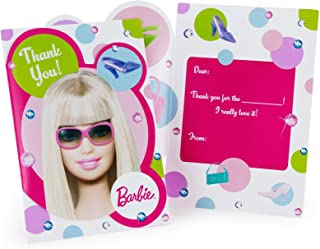 amscan Barbie All Doll'd Up Folded Thank You Cards, 8-Count