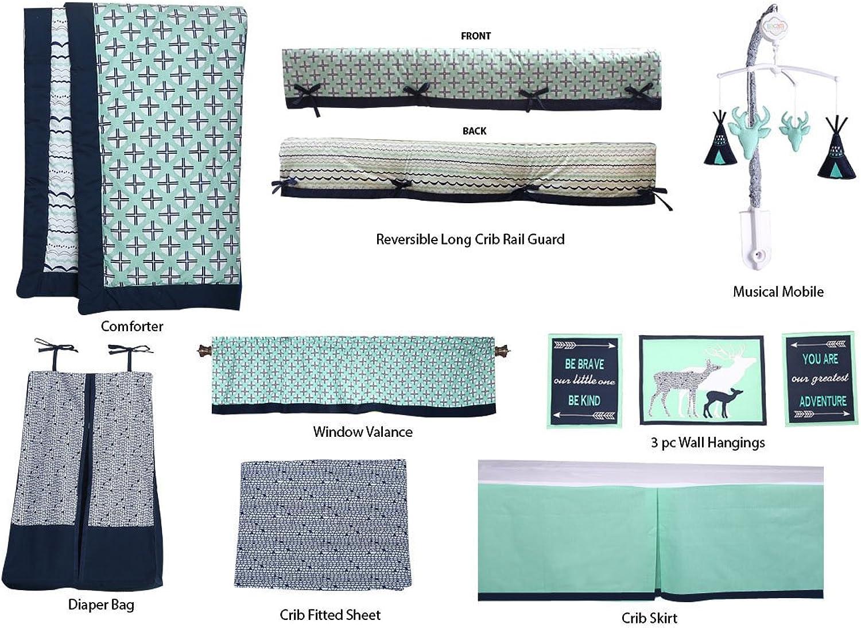 Bacati Noah Tribal Unisex 10 Piece Nursery in a Bag Crib Bedding Set, Mint Navy