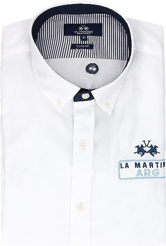 La Martina Homme NMC309TW02900001 Blanc Coton Chemise