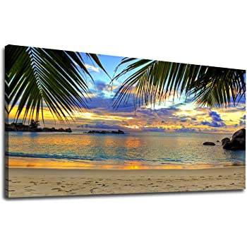 Large Wood Frame New Modern Home Nature Decor Breezy Palm Trees Canvas Wall Art