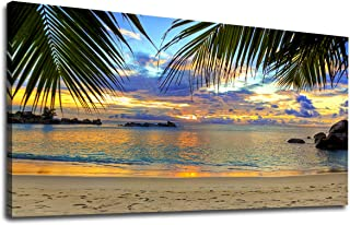 Canvas Wall Art Tropic Beach Sunset with Palm Tree Leaves Panoramic Coast Sunset Painting Prints - Long Canvas Artwork Seascape Ocean Contemporary Nature Picture for Home Office Wall Decor 20