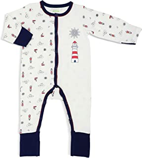 Simply Life Hypoallergenic Bamboo Sleep Suit Long-Sleeved Front Snap Buttons with Spot Print, Folded Mittens & Footies, Ocean, Navy Blue, 9-12 months