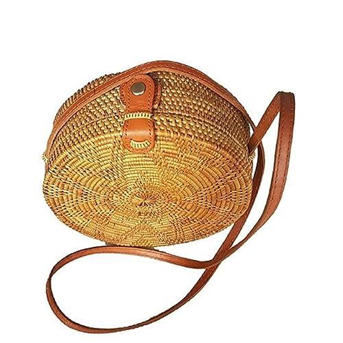 Rattan Nation - Handwoven Round Rattan Bag (Flower Weave), Round Bag, Straw