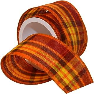 Morex Ribbon Autumn Hayride Plaid Wired Fabric Ribbon, Pumpkin, 2-1/2 in x 3-Yd