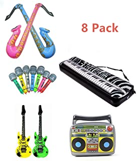 Inflatable Rock Star Toy Set, 8 Pack Inflatable Party Props,
