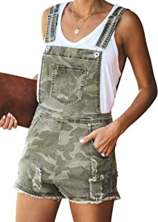 GOSOPIN Women Adjustable Juniors Overall Shorts Distressed Denim Rompers