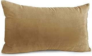 """Nestl Bedding Solid Microfiber Velvet 12"""" x 20"""" Throw Pillow Cover, Mocha Light Brown"""
