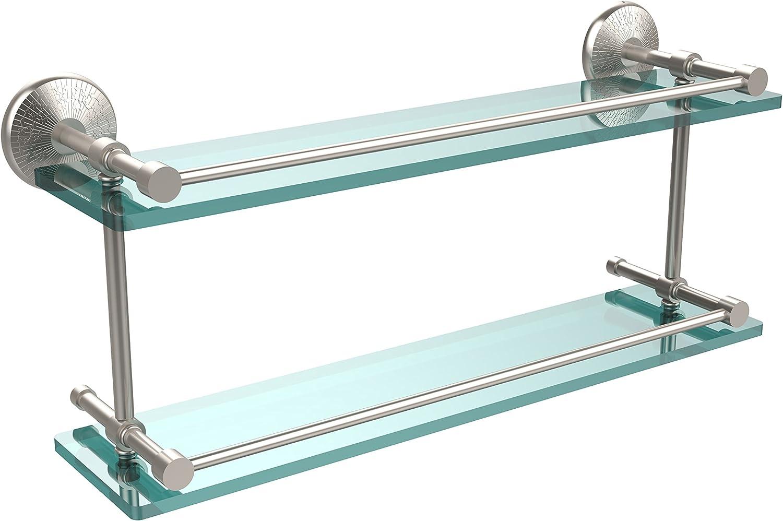 Allied Brass MC-2 22-GAL-SN Monte Carlo 22-Inch Double Glass Shelf with Gallery Rail, Satin Nickel