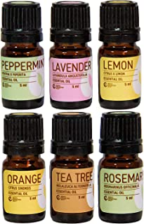 Rocky Mountain Oils The Essentials Kit - Includes 100% Pure and Natural Lavender, Lemon, Orange, Peppermint, Tea Tree, and...