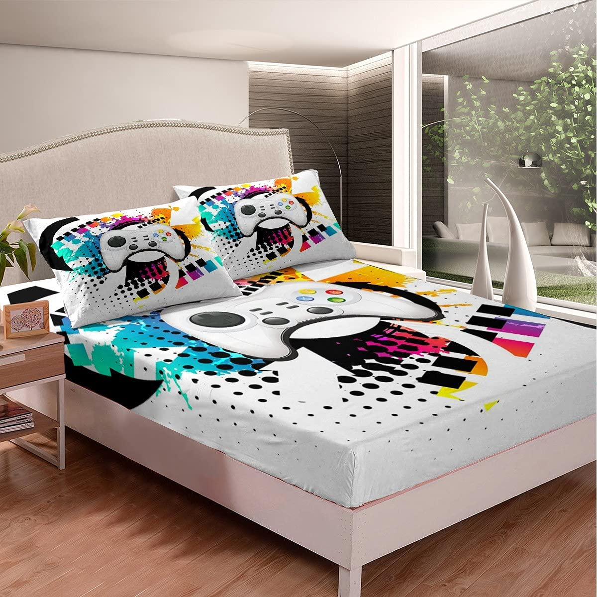 Kids Gaming Fitted Sheet TwinXL Gamer Modern Conso 2021 spring and summer new BeddingSets Purchase