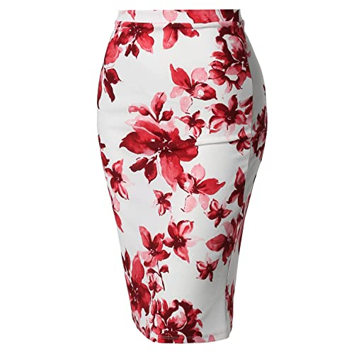 3d8a9d7e5 Women's Fitted Stretch Printed High Waist Midi Pencil Skirt - Made in USA