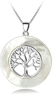 Long Way Sterling Silver Natural Mother of Pearl Family Tree of Life Pendant Necklace Halo Cubic Zirconia CZ Fine Jewelry Gifts for Women with Jewelry Box, 16