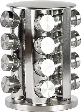 FEELING MALL Revolving Spice Tower   Round Spice Rack   Set of 16 Spice Jars   Seasoning Storage Organization   Stainless Ste