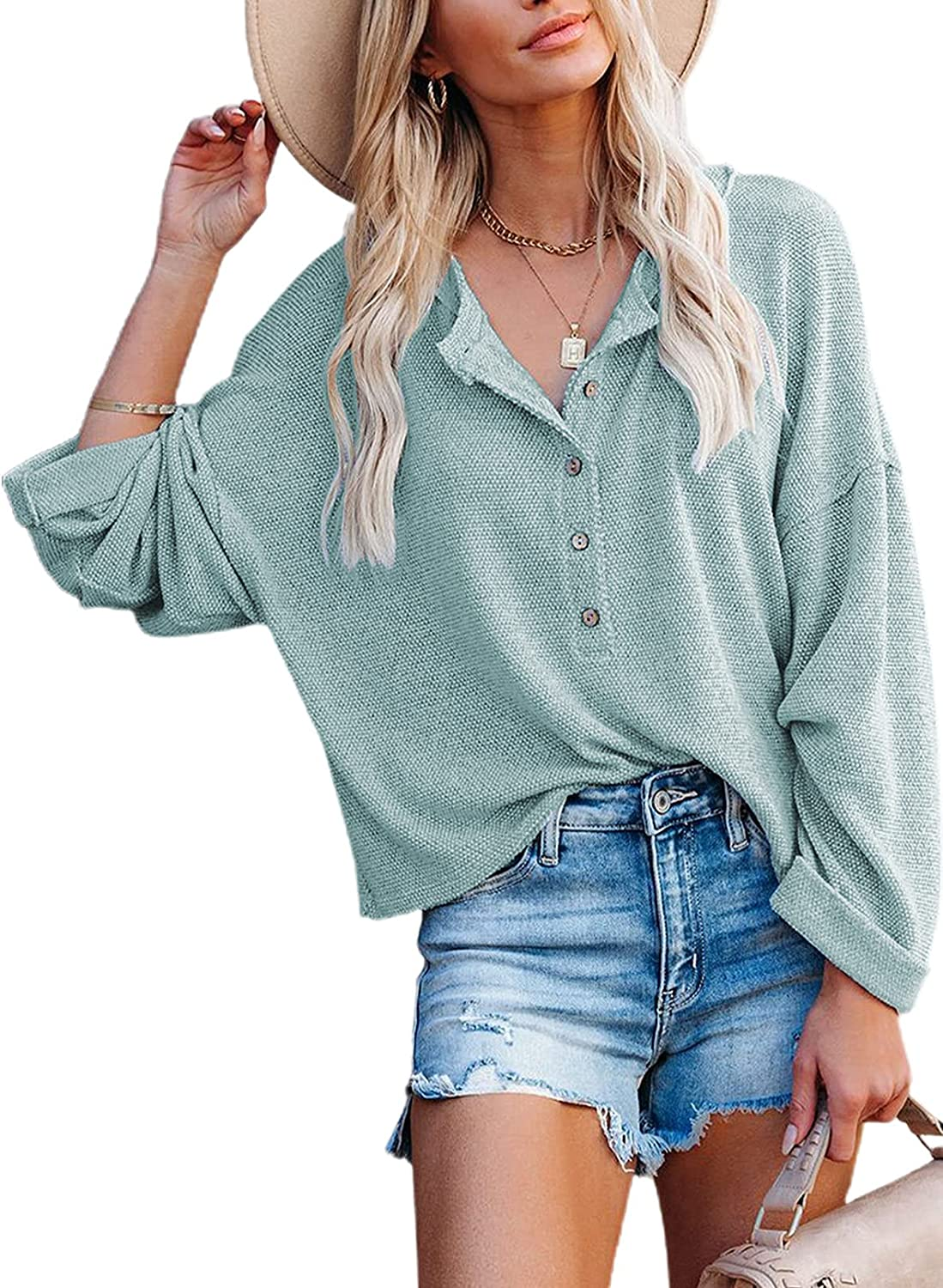 Paitluc Womens Sweaters Long Sleeve Turn Down Collar Tops Blouse Fall Sweaters for Women Loose Button Down Sweaters for Women