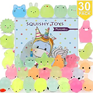 POKONBOY Mochi Squishy Toys Glow in The Dark for Party Favors - 30 Pack Mini Kawaii Cute Animal Squishies Stress Relief Squishy Animals Mochi Cat Squishy with Gift Box