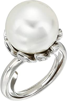 Rhodium with Rhinestone White Pearl Center Ring