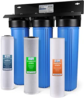 "iSpring WGB32B-PB 3-Stage Whole House Water Filtration System w/ 20"" x 4.5"" Big Blue Fine Sediment, Carbon Block, and Lead & Iron Reducing Filters"