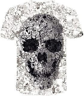 DADKA Men's T-shirt New Summer CrewNeck Short Sleeve Skull Funny 3D Printed Top Blouse