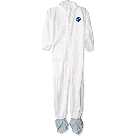 DuPont TY122S Disposable Elastic Wrist, Bootie & Hood White Tyvek Coverall Suit 1414, Large