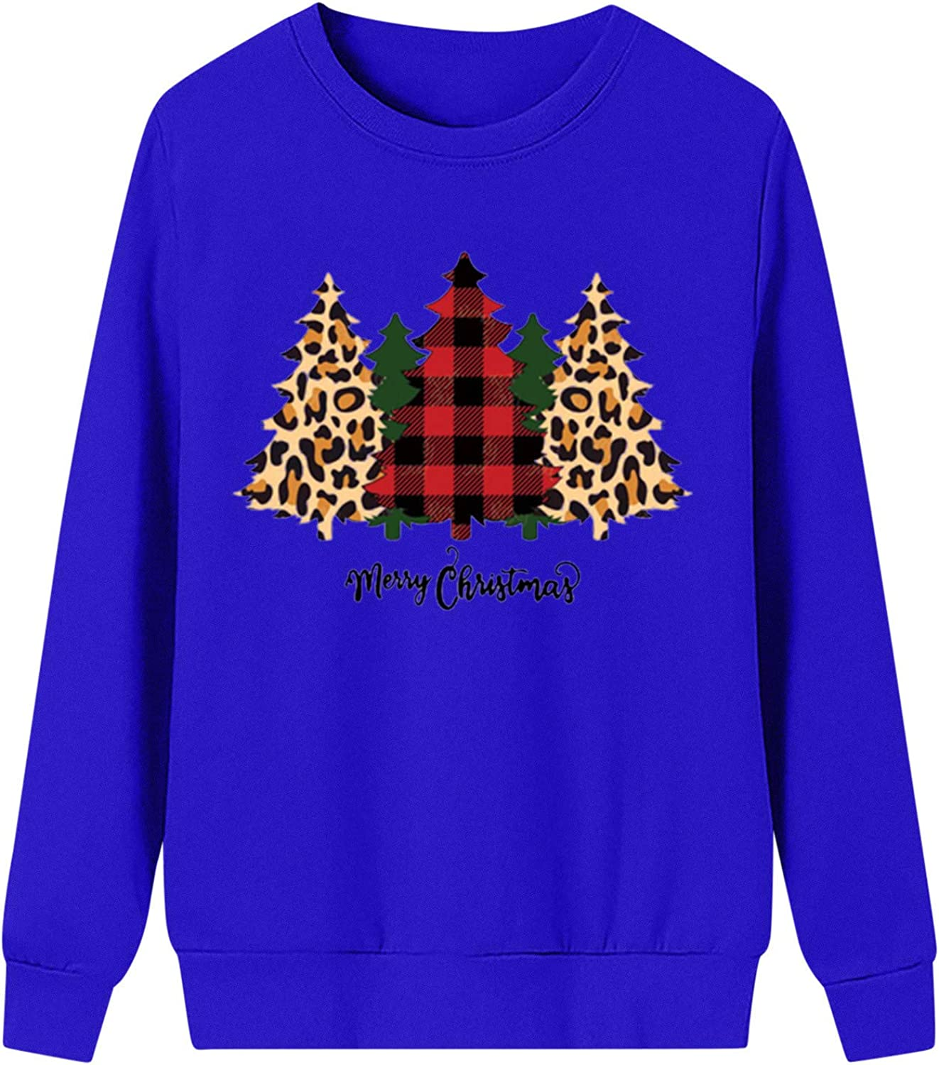Christmas Oversized Sweatshirts for Women Cute Tree Print Long Sleeve Plus Size Pullover Blouse Casual Tunic Tops