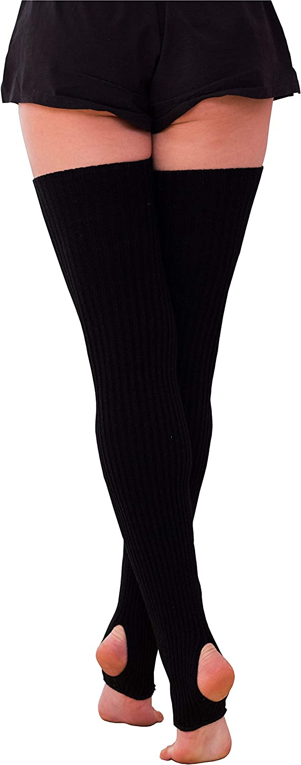 High Thigh Knitted Leg Warmers for Women. 20% wool 80 cm length. For warm-up Pole dance, stretching, yoga, ballet