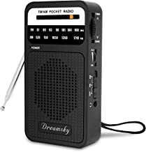 DreamSky Pocket Radios, Battery Operated AM FM Radio with Loud Speaker, Great Reception,..