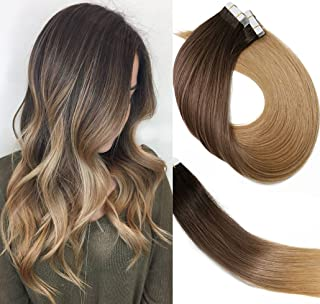 Tape In Hair Extensions Ombre Extensions 20pcs/50g Per Set #2T6T27 Dark Brown Fading to Chestnut Brown and Honey Blonde Double Sided Tape Skin Weft Remy Glue in Extensions Human Hair 22 Inch