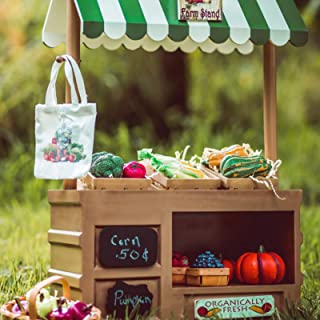 Interchangeable Farm Stand, with Sign Set, Chalk, Crates, and Shopping Tote Furniture Accessories Compatible with 18 Inch American Girl Dolls.
