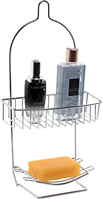 Basicwise QI003490 メタルワイヤハンギングバスルームシャワーストレージラック クロム