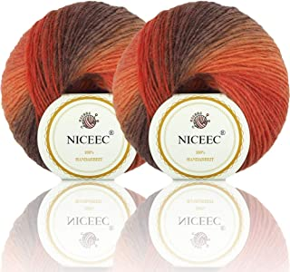 2 Skeins Rainbow Soft Yarn 100% Wool Gradient Multi Color Yarn for Crocheting Knit Total Length 180m×2(196yds×2,50g×2)-3