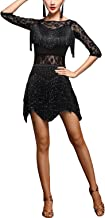 Whitewed Lace Fringes Dance Recital Salsa Latin Tango Dress Costume with Sleeves