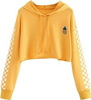 MAKEMECHIC Women's Pineapple Embroidered Hoodie Plaid Crop Top Sweatshirt