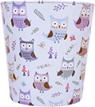 Haoun Wastebasket,Cute Owl Pattern PU Leather Trash Can Paper Basket Dustbin Garbage Bin for Bedroom Living Room Kitchen