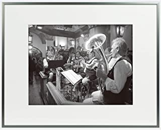Golden State Art, 16x20 Dark Grey Aluminum Frame with Ivory Mat for 11x14 Picture/Photo & Real Glass (16x20)