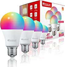 Sparkling Wonderful 4-Packs Wi-Fi Smart Bulbs, 830LM,E27, Dimmable Tunable 9W and RGBCW Smart Light Bulbs By Alexa and Voi...