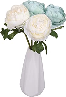 Miss Bloom Artificial Rose 4 Heads with Ceramics Vase | Hydrangea Silk Flowers Desk Decorations for Women Office | Fake Flower Centerpiece Decor for Kitchen Table (Blue & White)