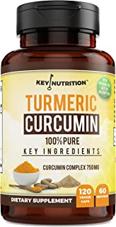 Sponsored Ad - Key Nutrition Turmeric Curcumin Complex with Piperine and Nettle, 100% Pure, Organic - Pain Relief, Anti-In...