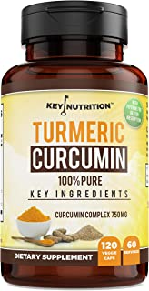 Key Nutrition Turmeric Curcumin Complex + Black Pepper Extract, Nettle | 100% Organic - Pain Relief, Anti-Inflammatory, Antioxidant | 120 Caps, 60 Day Supply