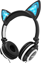 Kids Headphones, LOBKIN Over Ear Foldable Wired Headphone for Children with Glowing Light,Cat Ear Headphones for Girls Boy Baby Cosplay Fans(Black)